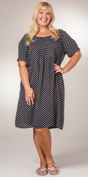 63869bfbe7c35 Plus Casual Dress - La Cera Rayon Short Sleeve - Black Polkadots ...