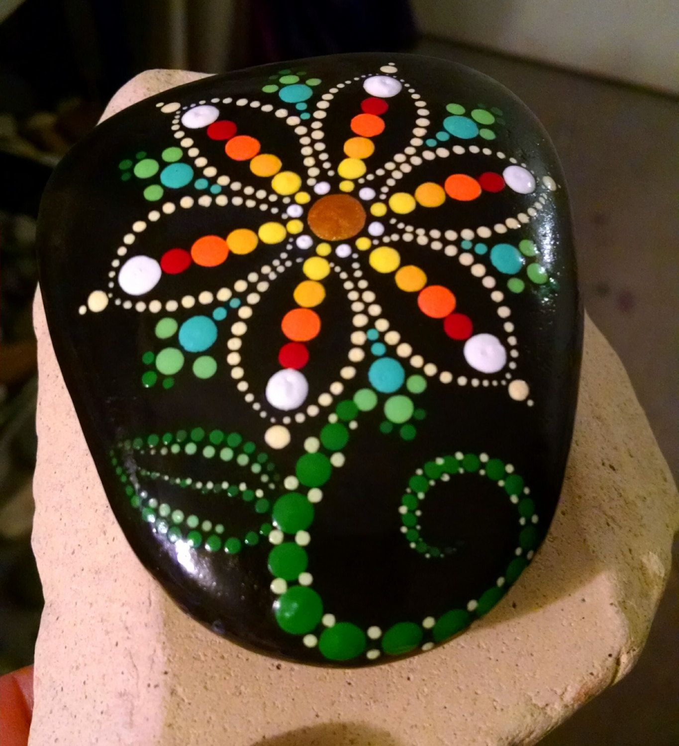 Hand Painted Dot Art Flower ~ Painted Beach Stone ~ Colorful Rainbow Home  Decor ~ Ornament ~ Painted Rock