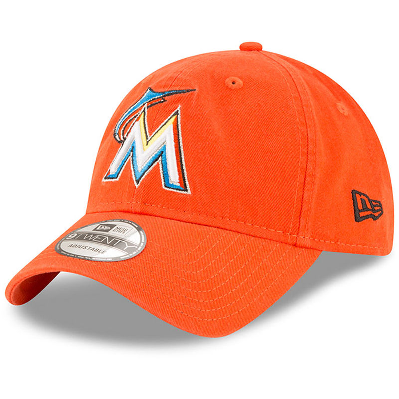 new product a503e 68a68 Miami Marlins New Era Road Replica Core Classic 9TWENTY Adjustable Hat -  Orange
