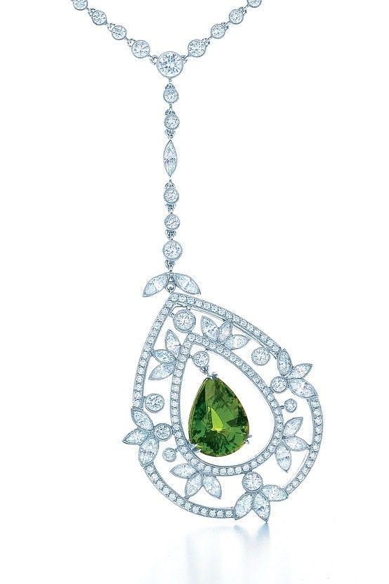 Spring flourishes amid the splendor of a garden court. Pendant with a 5.54-carat tsavorite, diamonds and platinum.