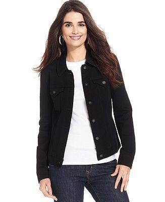 Style&co. Jacket, Denim Jean Jacket, Deep Black Wash - Jackets & Blazers - Women - Macy's