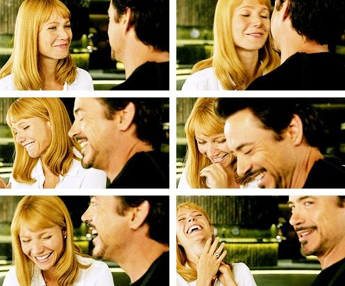 Bloopers The Avengers ~ Tony Stark and Pepper Potts.