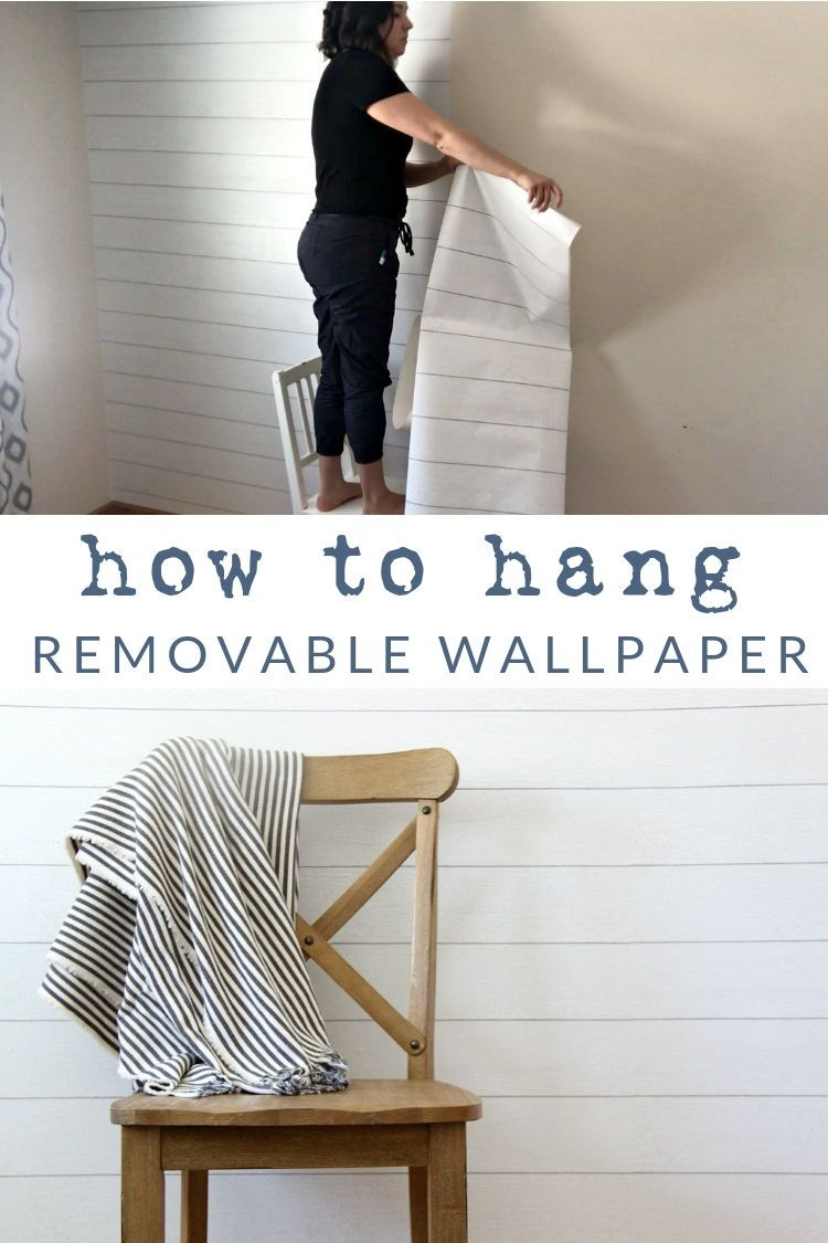 How To Hang Removable Wallpaper Learn My Tips And Tricks For Hanging Prepasted Wallpaper Quickly Removable Wallpaper Temporary Wallpaper Shiplap Wall Paper