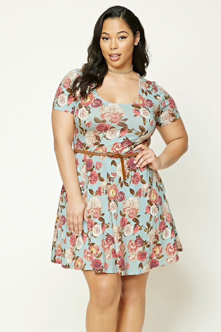 Forever 21+ - A knit skater dress featuring an allover floral print ... 1a94cd8af