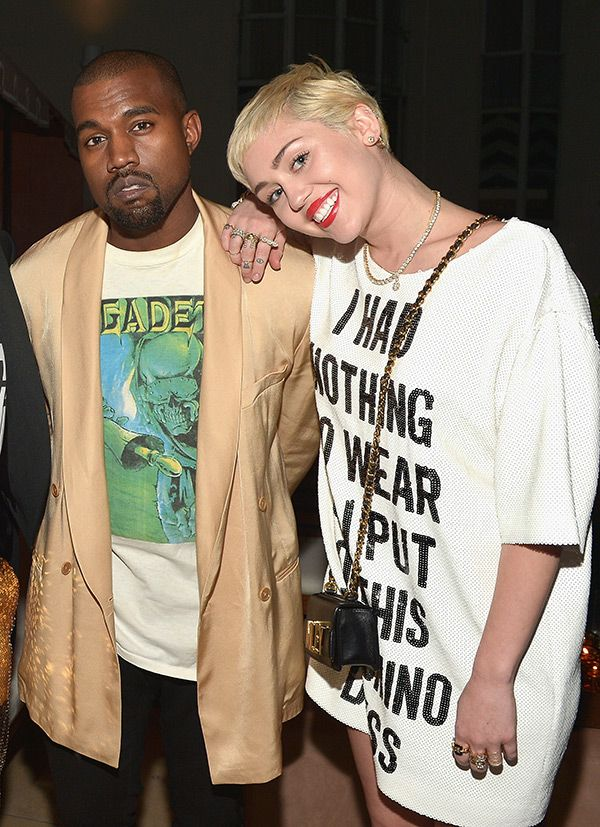 Miley cyrus and kanye west team up for black skinhead