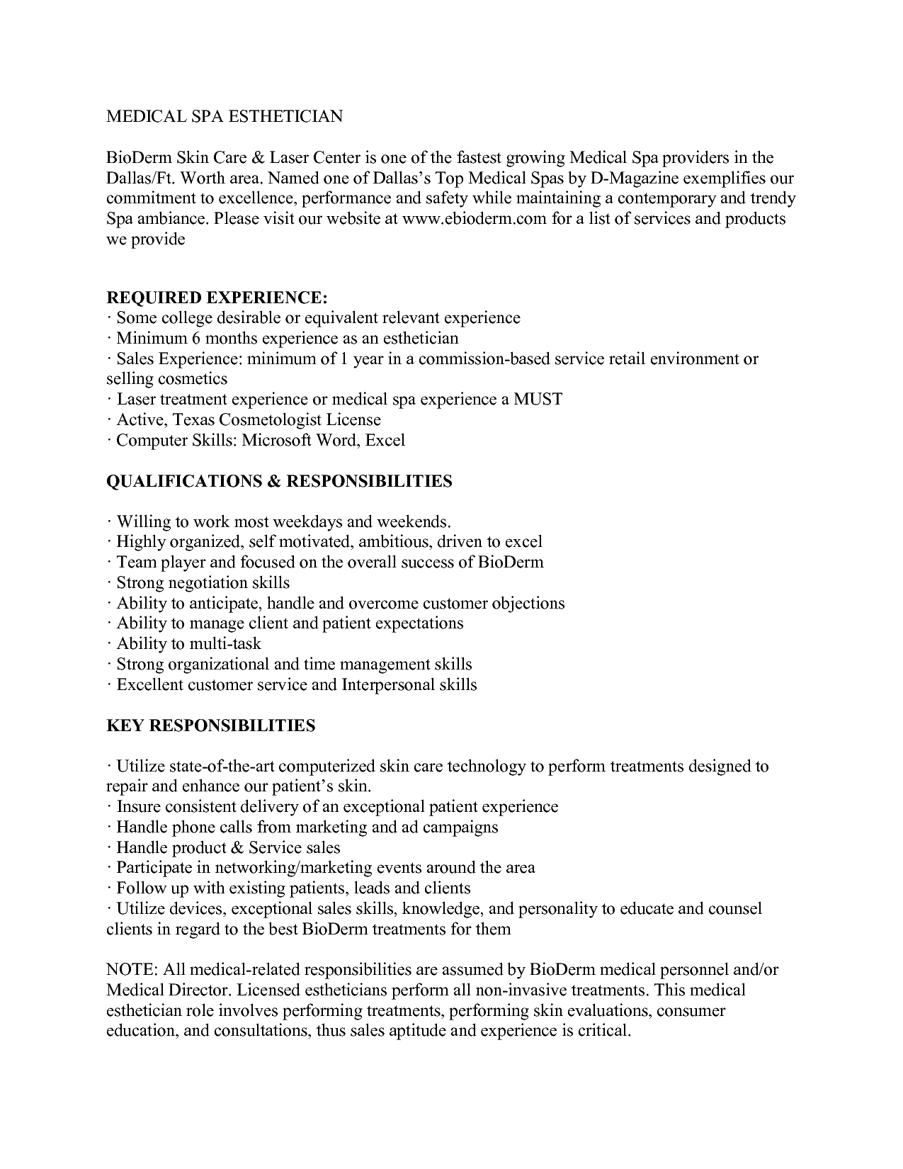 medical esthetician resume sample httpwwwjobresumewebsitemedical