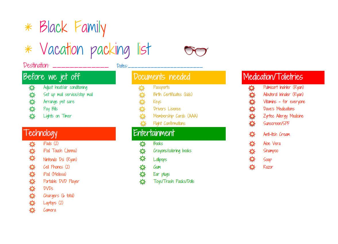 Personalized Custom Vacation Packing List