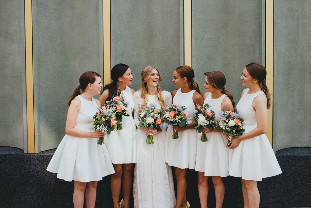Greenery Peach Filled Reception At Nottingham Contemporary With Bespoke Lace Wedding Dress ASOS Bridesmaid Gowns