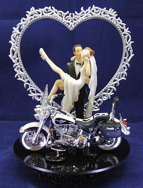 210 Wedding Cake Topper With Harley Davidson Motorcycle