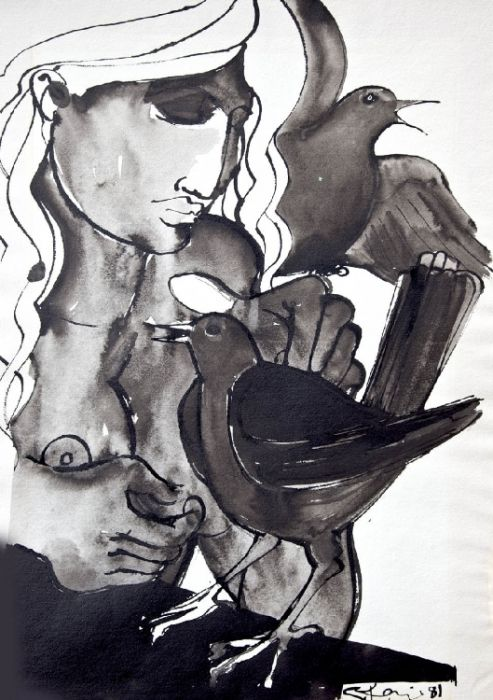 Woman & Birds  Ink and Wash 20 x 13 ins (50.80 x 33.02 cms) Signed and DatedGeoffrey Key - Woman & Birds