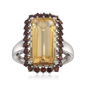 8.55 ct. t.w. Citrine and Garnet Ring in Sterling Silver