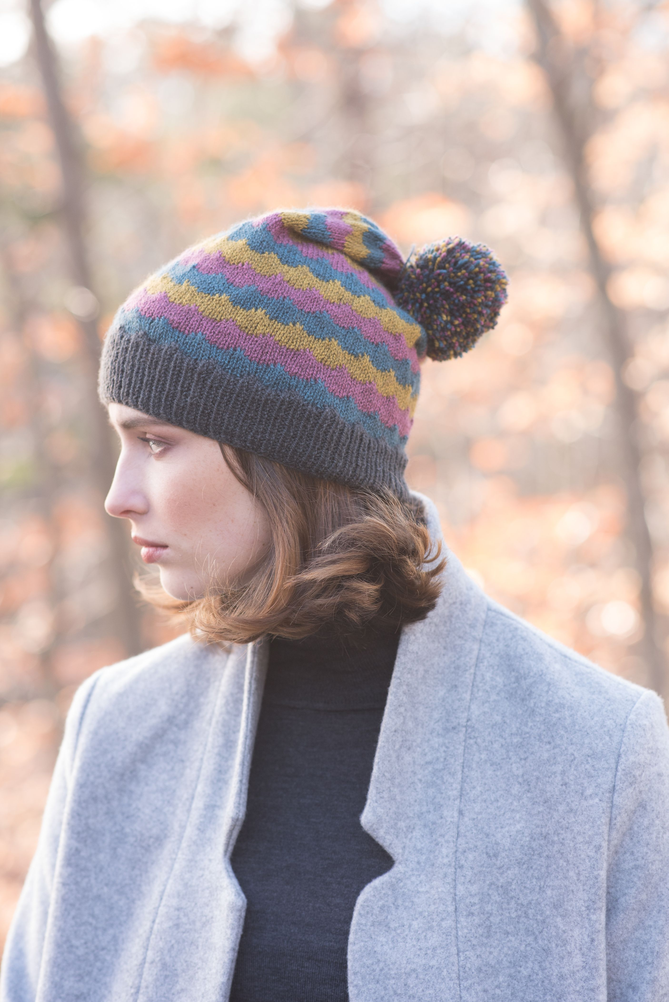 Gieid is a free hat knitting pattern made with four colors of ...