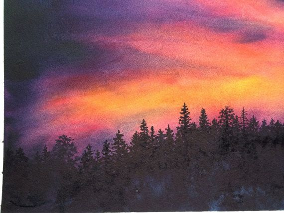 Original Watercolor Art Sierra Sunset Original Painting Framed