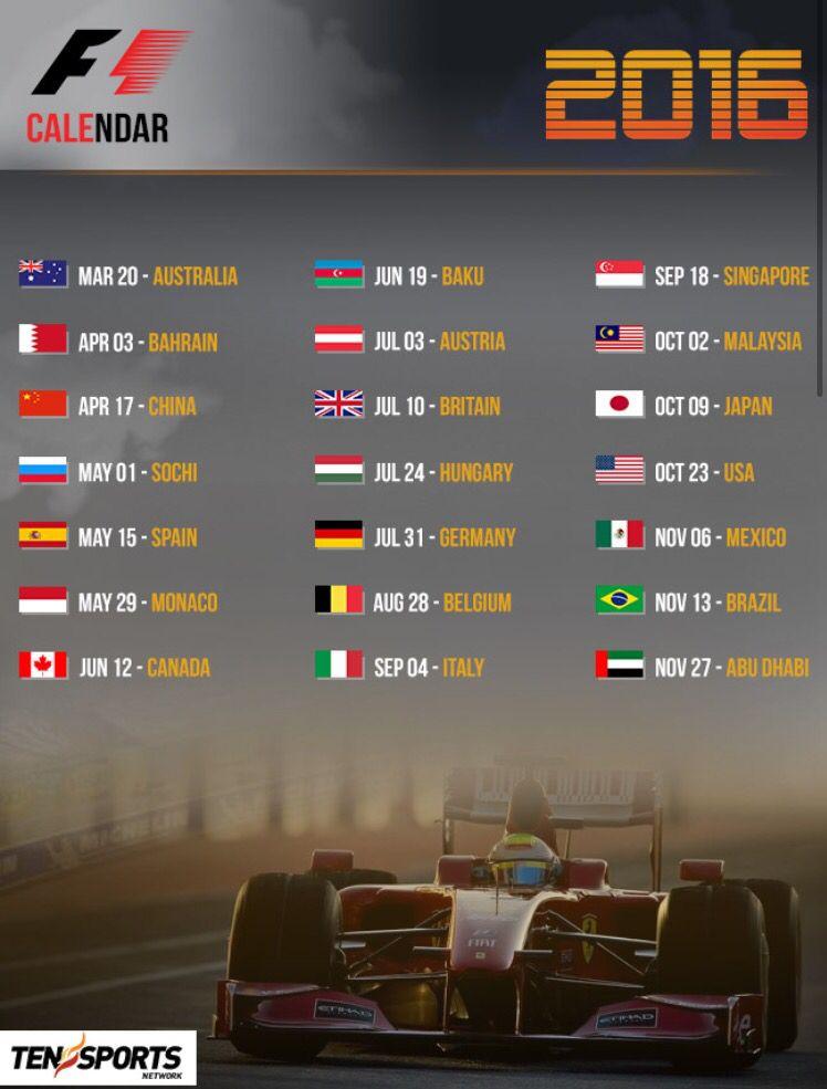 2016 schedule   8 • F1   2016 Season   Formula 1, Formula