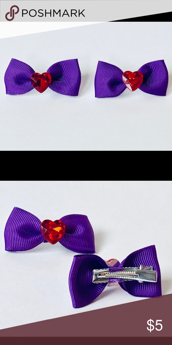 Purple Bow Hair Clip Set With Red Heart Rhinestone Bow Hair Clips Purple Hair Bows Purple Bows