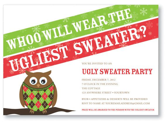 Ugly Sweater Party Invitation Owl Work Projects Pinterest