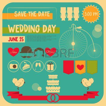 Wedding Invitation Card in Retro Flat Style Vintage Design Square Format Vector Illustration  Stock Vector