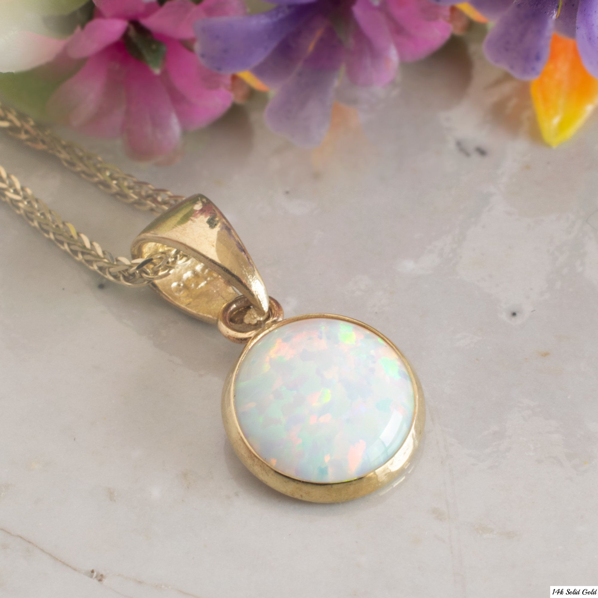 14K Yellow Gold Diamond /& Oval Opal October Stone Pendant