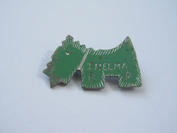 1930 S Scottie Dog Pin With Name Inscription By 4birdsvintage 24 00 Dog Pin Scottie Dog Dog Brooch