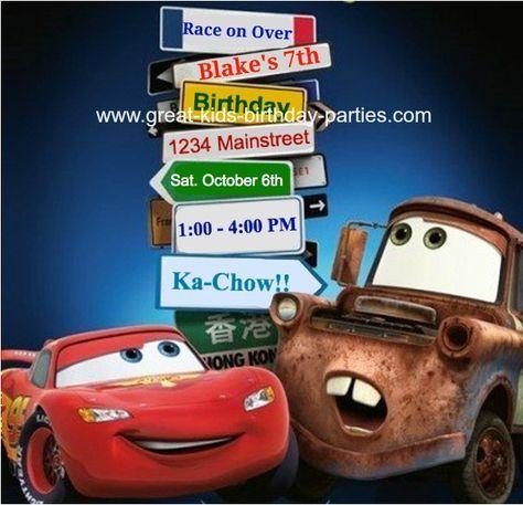 disney cars birthday invitation