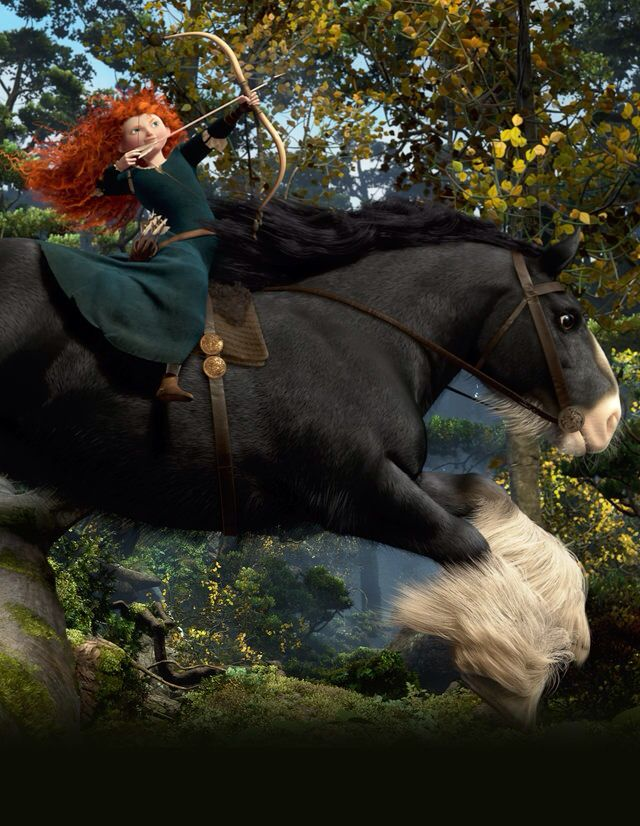 Merida and angus riding through the forest prettyhappy - Cheval rebelle ...