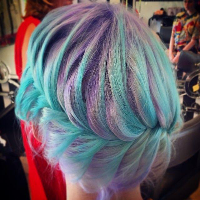 Pastel purple and blue hair in a french fishtail. Sooooooo super gorgeous!!!
