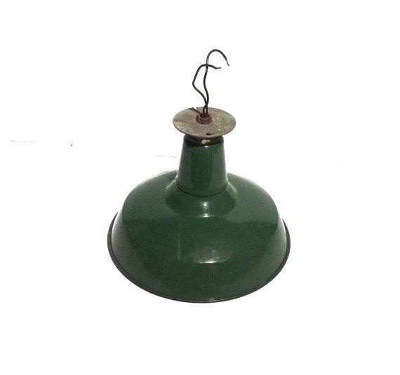 Vintage Industrial Green Porcelain Enamel Vintage Light