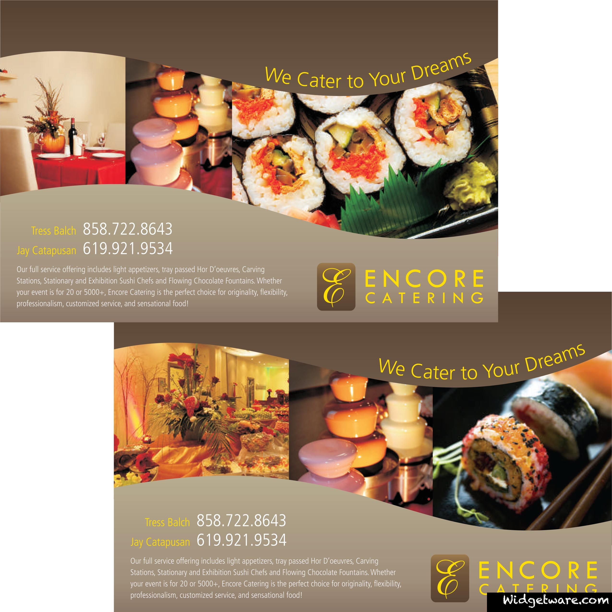 encore catering promotional flyer we created see more like it