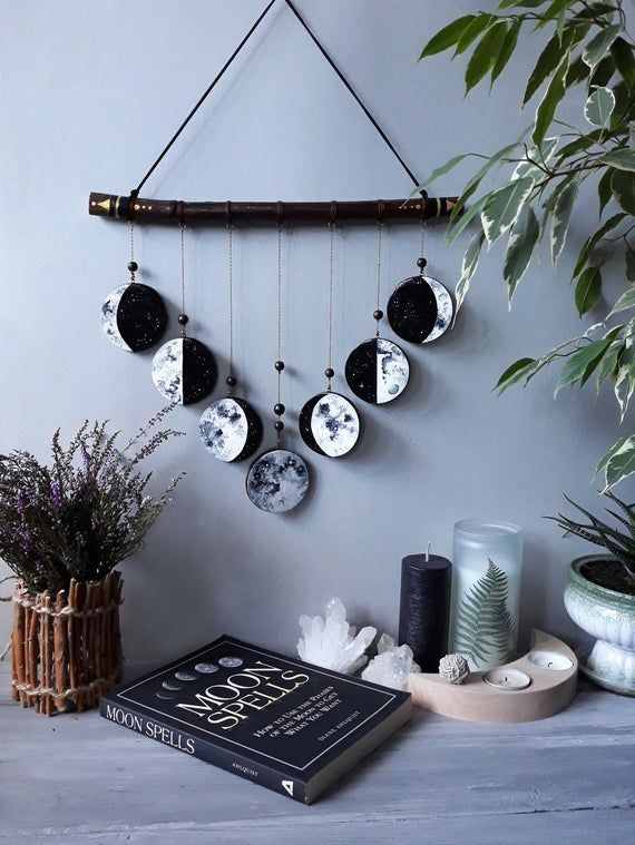 Photo of Phases of the Moon    Moon Wall Hanging Decor     Black and White Moon    Witchy Decor