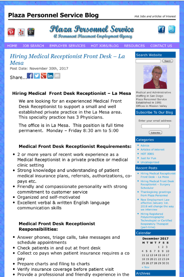 We Are Hiring A Medical Front Desk Receptionist To Support 3 Physicians In A Private Practice Located In Medical Receptionist Assistant Jobs Medical Assistant