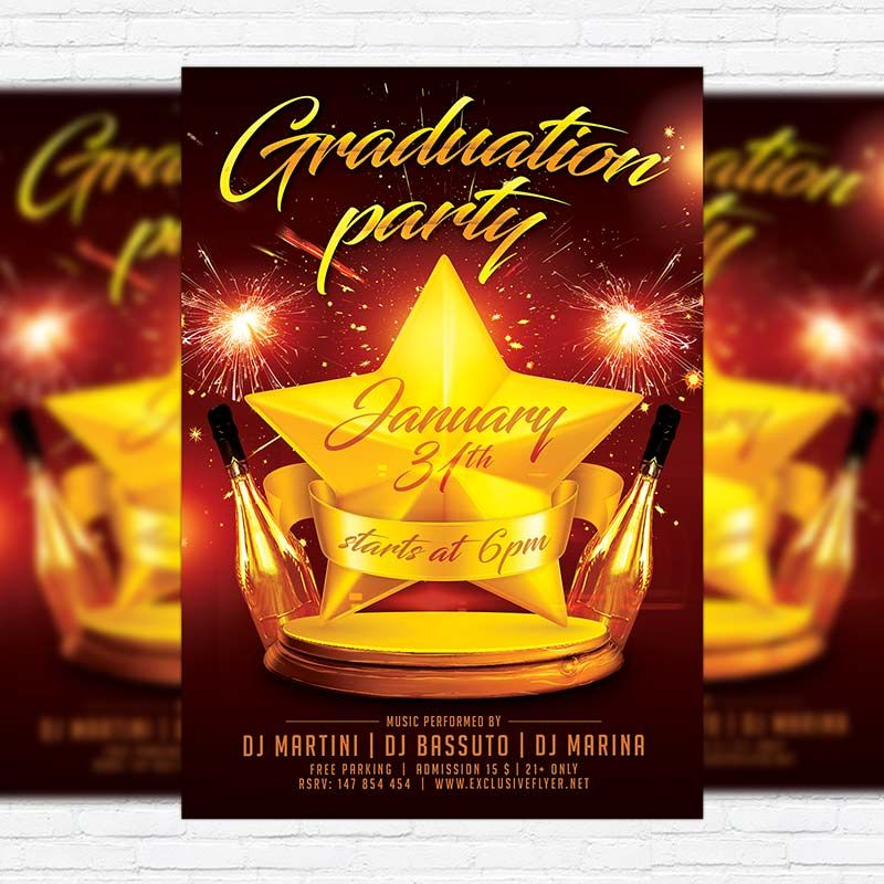 Graduation Party - Free Club and Party Flyer PSD Template https - bowling flyer template free