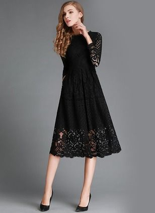 Solid Lace Long Sleeve Midi A Line Dress Floryday