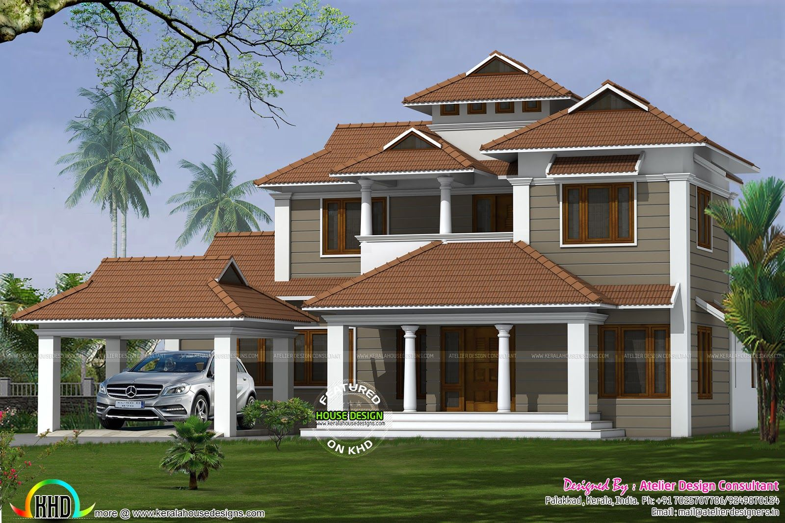 5 Bedroom , 2850 Square Feet Square Meter) Square Yards) Traditional Model  Home Architecture. Design Provided By Atelier Design Consultant, Palakkad,  ...