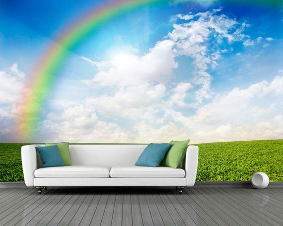 Green fild & rainbow wall mural. Photo wallpapers of toe