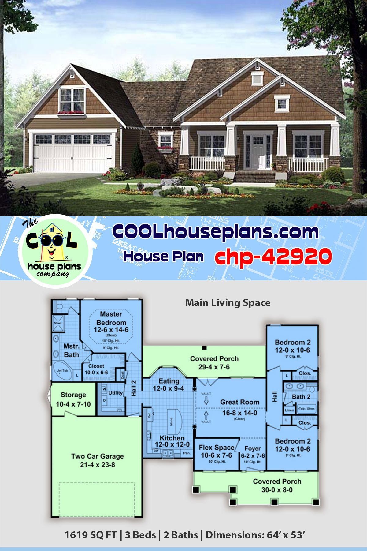 3 Bedroom Country Craftsman Home Plan Chp 42920 Exclusive To Cool House Plans Craftsman House Plans Best House Plans House Plans