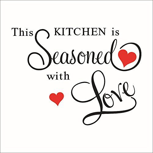 sealsee this kitchen is seasoned with love removable wall stickers decal sticker wall quote on kitchen decor quotes wall decals id=58061