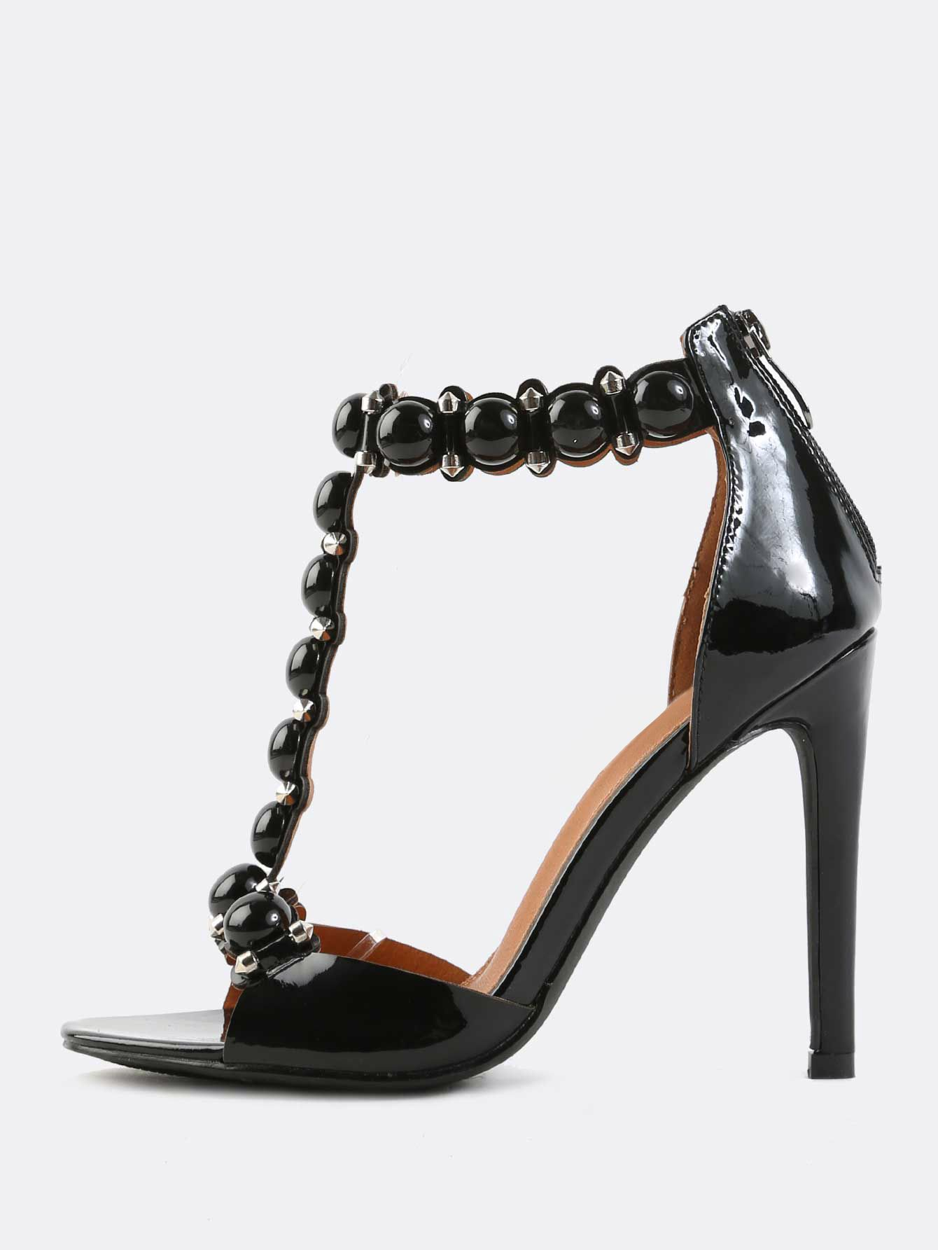 Open Toe High Shine T-Strap Beaded Heels BLACK -SheIn(Sheinside)