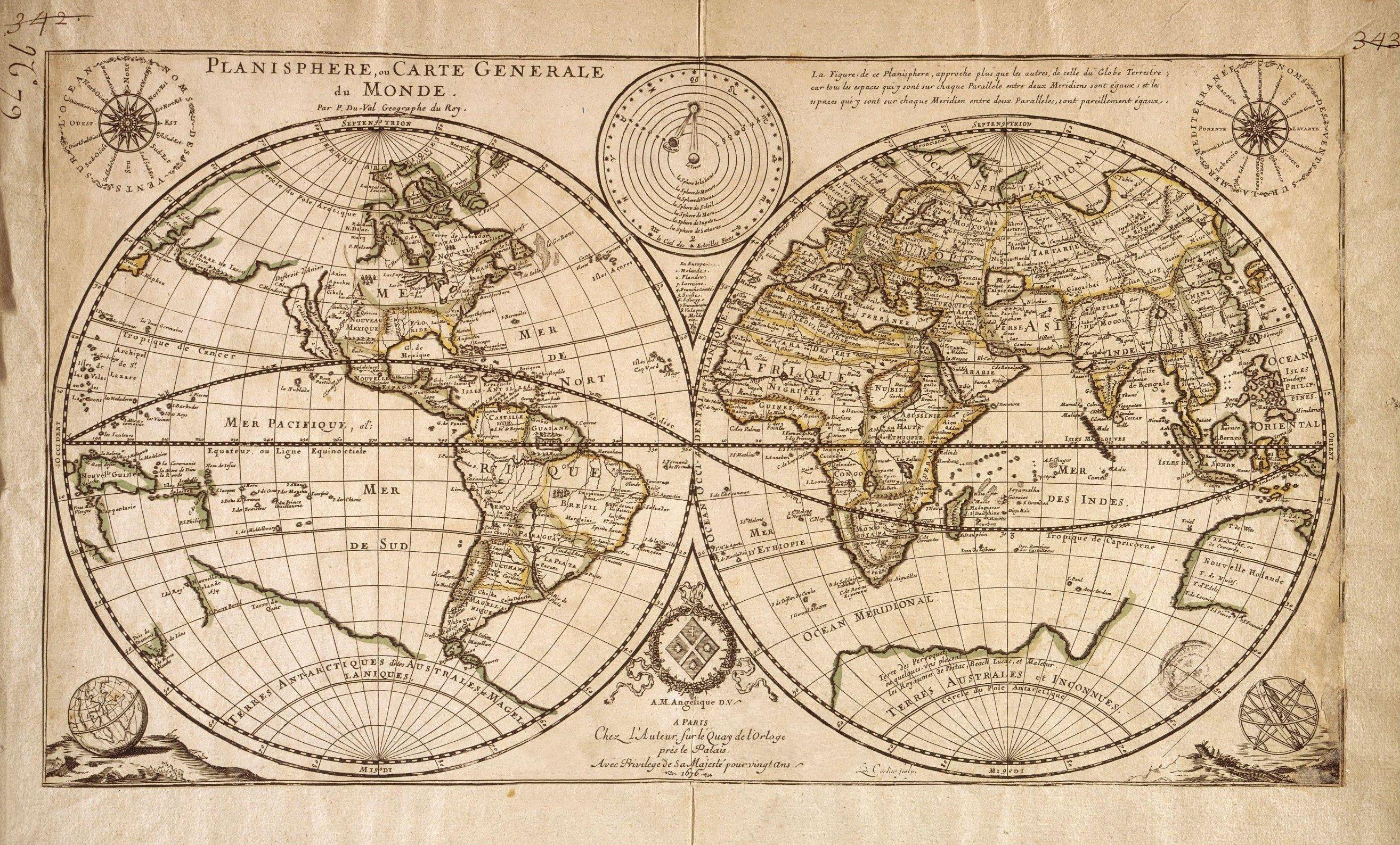 Vintage Globe Line Drawing : Planisphère carte ancienne voyages pinterest