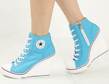 converse wedge heels blue | Basket a talon, Chaussure a ...
