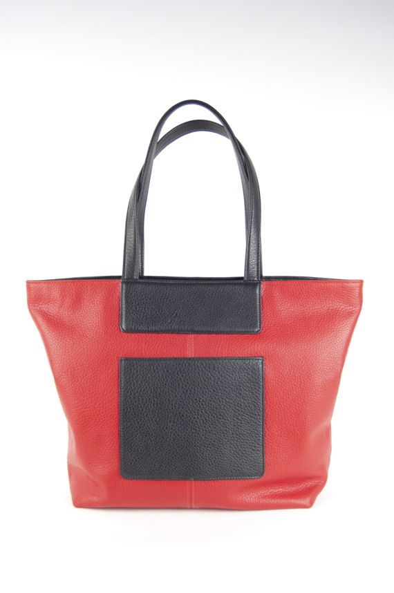 1749274863 Mona tote in red and black Italian leather  lined  handmade