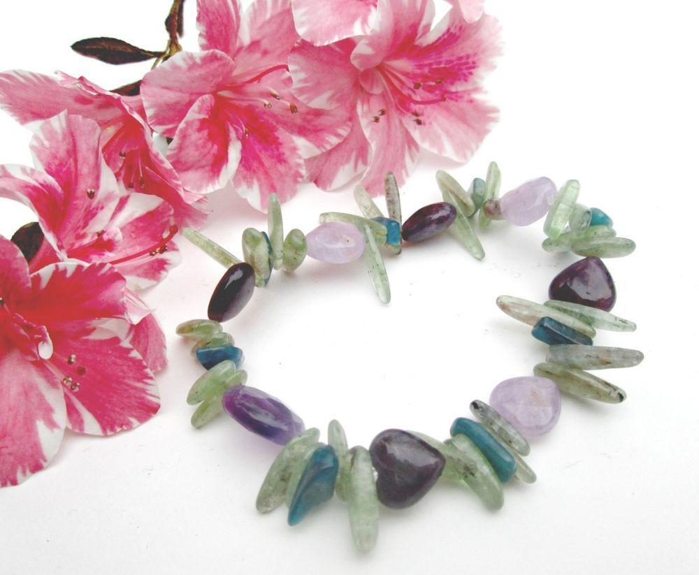 """Natural Kyanite & Amethyst Handmade Calming Stretch Bracelet  8"""" #EWArtistry #Beaded"""