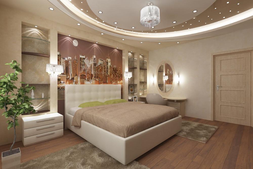 Light fixtures, ceiling, wall behind headboard Bedroom