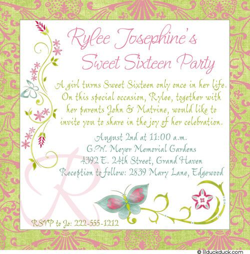 17 Best images about Sweet 16 Party Invitations and Event Ideas on – Sweet Sixteen Birthday Greetings