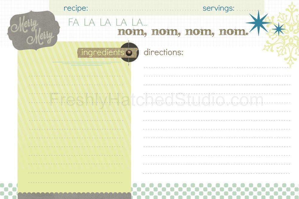 Holiday Recipe Card   FreshlyHatchedStudio.com