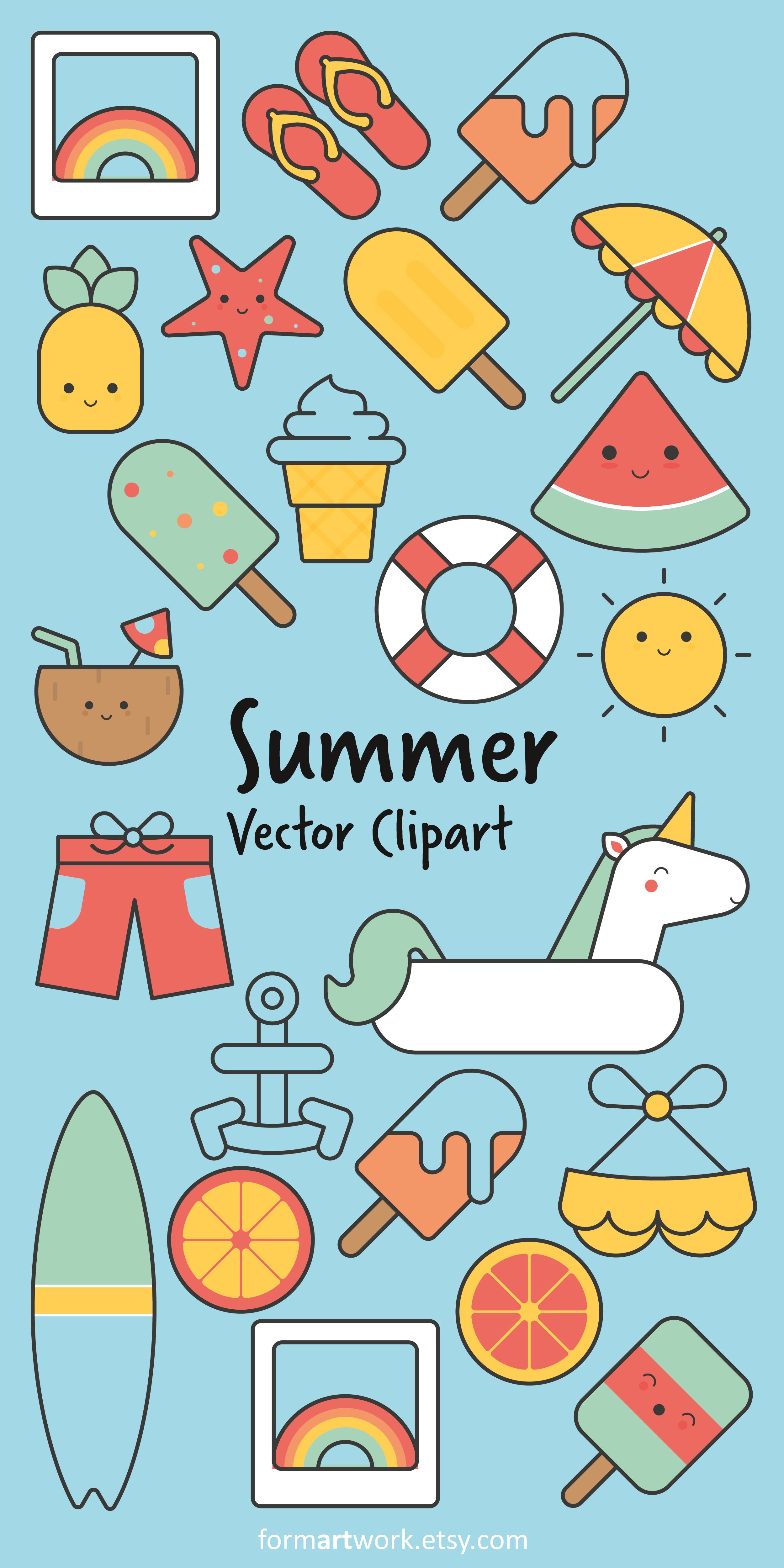 Cute Summer Vector Clipart Set Watermelon Ice Cream Polaroids Bikini Pineapple Coconut Lemon Summer Vector Clip Art Freebies Watermelon Illustration