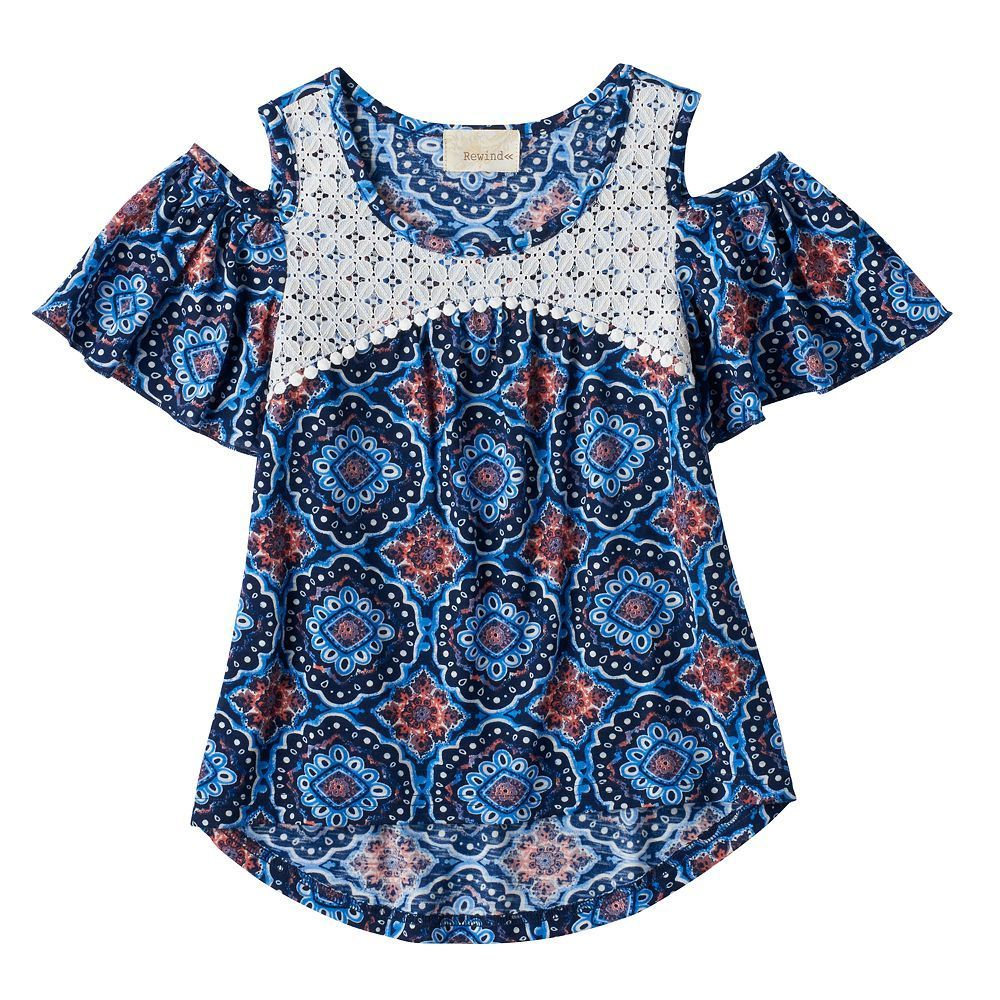1368d42ad Girls 7-16 My Michelle Crochet Lace Patterned Cold Shoulder Top ...