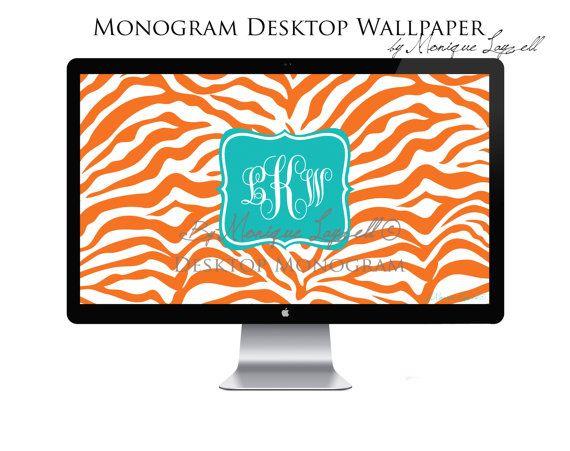 Orange Zebra Turqouise Monogram Desktop By MLPhotographicArtist 800