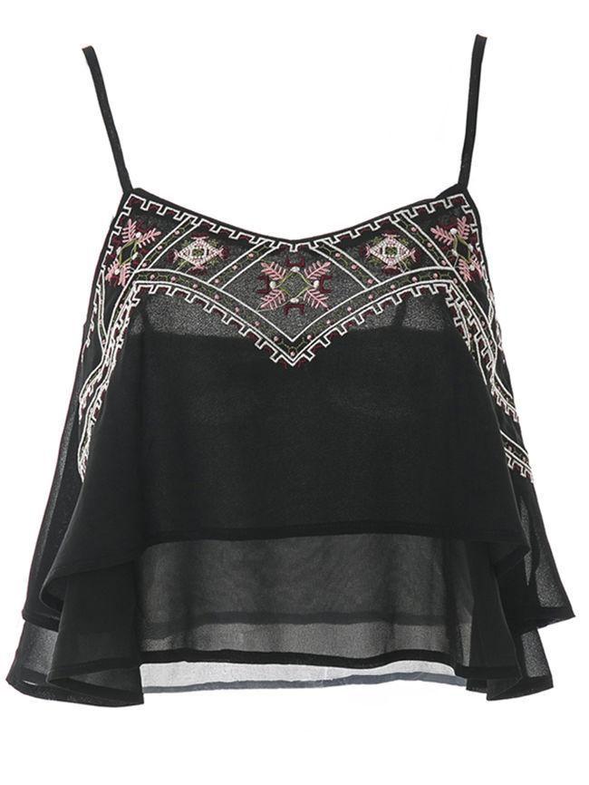 c32bc6b36f5ce Spaghetti Strap Embroidery Chiffon Cropped Sleeveless T-Shirt ...