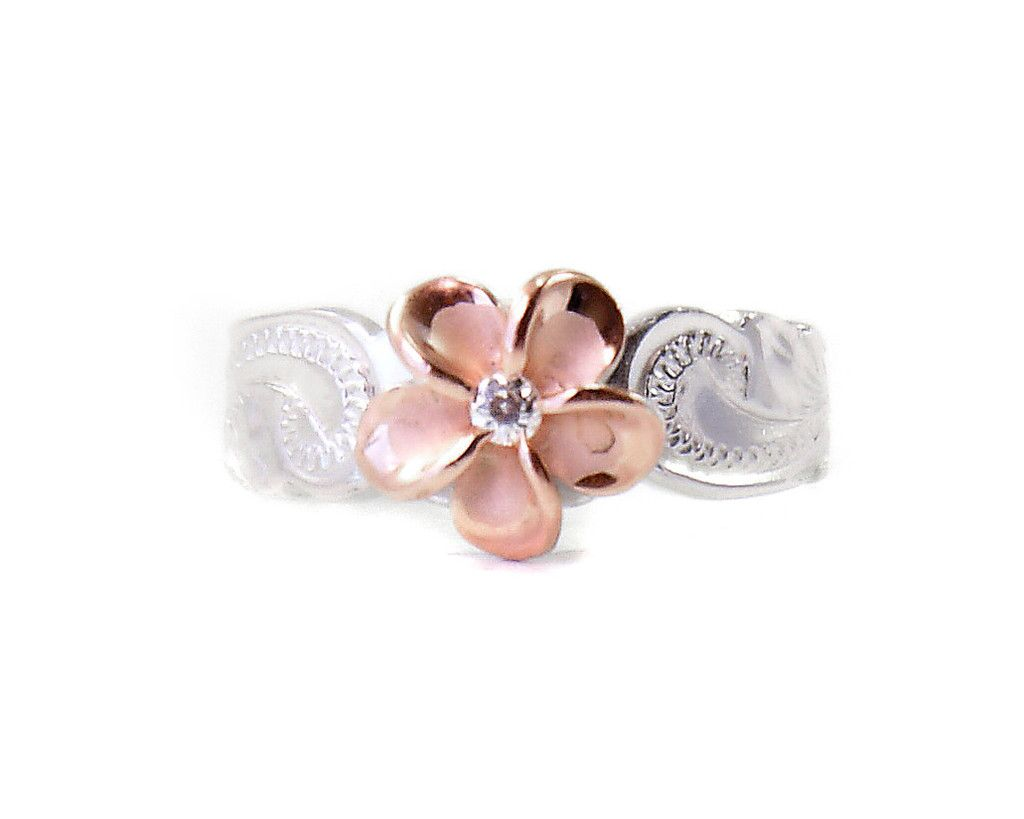 Gold toe rings for women - Sterling Silver Hawaiian Plumeria Toe Ring Two Tone Rose Gold