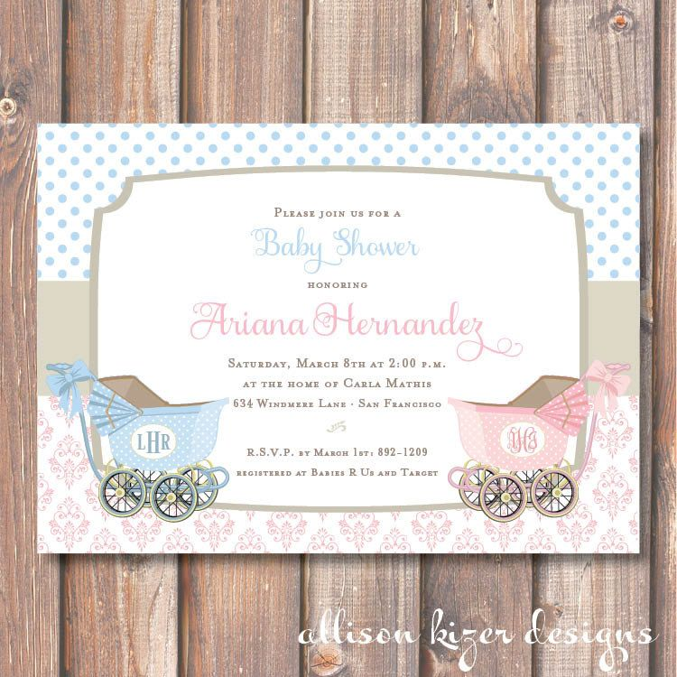 baby shower invitation for twins%0A Elegant Boy Girl Twins Printable Invitation Vintage Carriages Boy  u     Girl  Prams Old Fashioned Pink and Blue Gender Reveal Party Classic